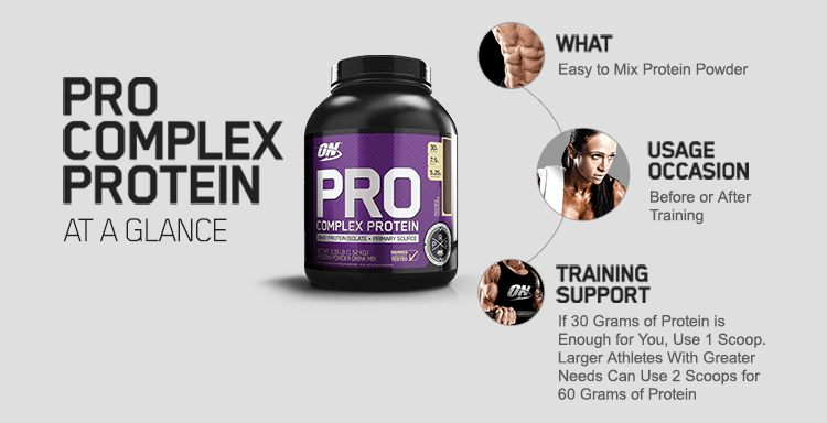 Pro Complex Protein at a glance. What - Easy to mix protein powder. Usage Occasion - Before or after training. Training Support - If 30 grams of protein is enough for you, Use 1 scoop. Larger athletes with greater needs can use 2 scoops for 60 grams of protein.