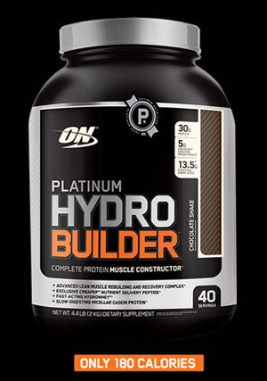 NEW ON Platinum Hydrobuilder™ Complete Protein Muscle Constructor.* Only 180 Calories
