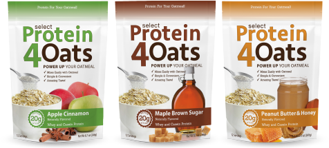 three select protein 4 oats lined up together