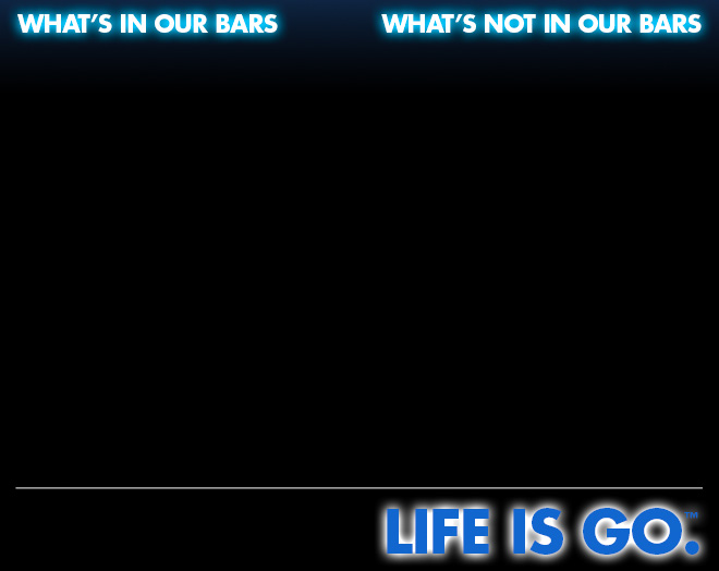 What's in our bars. What's not in our bars. Life is go.