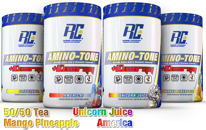 Ronnie Coleman Signature Series Amino-Tone plus Energy. Flavors include: 50/50 Tea, Mango Pineapple, Unicorn Juice and America.