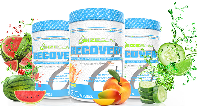 Three Sizeslim recovery bottles in a row
