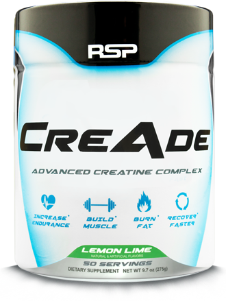 RSP Nutrition CreAde. Advanced Creatine Formula. Supports Endurance. Supports Muscle Growth. Supports Weight Management. Supports Recovery. Lemon Lime. 50 Servings.