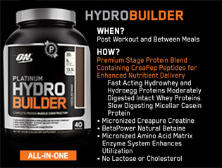 All-In-One HYDROBUILDER: When? Post Workout and Between Meals. How? Premium Stage Protein Blend Containing CreaPep Peptides for Enhanced Nutritient Delivery. Fast Acting Hydrowhey and Hydroegg Proteins Moderately Digested Intact Whey Proteins Slow Digesting Micellar Casein Protein. Micronized Creapure Creatine, BetaPower Natural Betaine, Micronized Amino Acid Matrix Enzyme System Enhances Utilization, No Lactose or Cholesterol