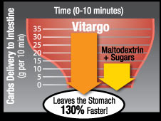 Carbs Delivery to Intestine (g per 10 min) Leaves the Stomach 130% Faster! Vitargo. Matodextrin + Sugars.