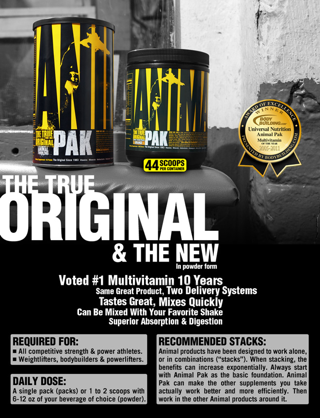 The 'True Original' multivitamin training pack. Designed to limit micronutrient deficiencies, optimizing the internal anabolic environment. The choice of bodybuilding and powerflifting champions for more than three decades. The foundation of your supplemental regimen, support the most rigorous training.*
