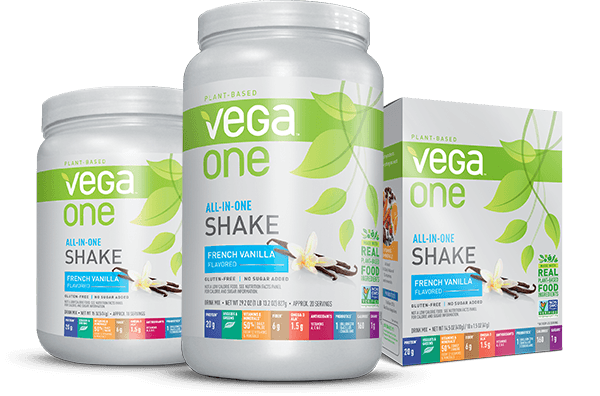 Three Vega One all in one shake bottles