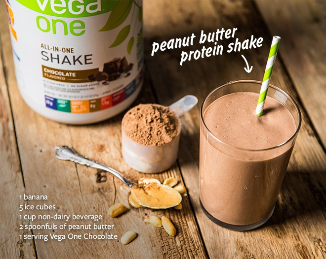 Peanut Butter protein shake recipe: 1 banana, 5 ice cubes, 1 cup non-dairy beverage, 2 spoonfuls of peanut butter, 1 servings Vega One Chocolate