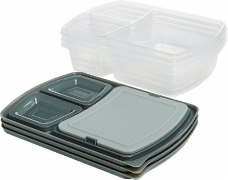 Jaxx Meal Prep Divided Container Set with Snap-In Cutting Board