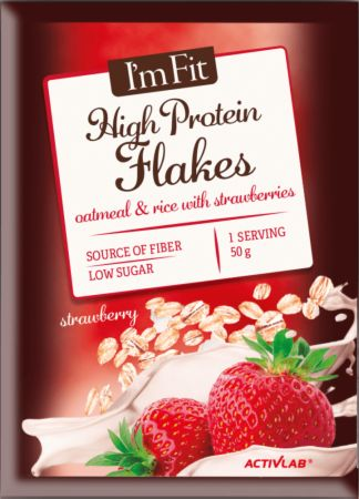 Image of ACTIVLAB I'm Fit High Protein Flakes 10 x 50g Sachets Oatmeal & Rice with Strawberries