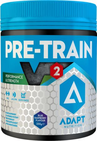 Image of PRE-TRAIN V2 Blue Raspberry 330 Grams - Pre-Workout Supplements Adapt Nutrition