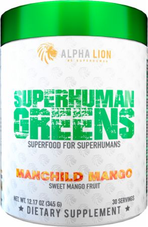 Image of Superhuman Greens Superfood Manchild Mango 30 Servings - Greens Alpha Lion