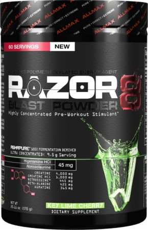 AllMax Nutrition Razor8 Key Lime Cherry 60 Servings - Pre-Workout...