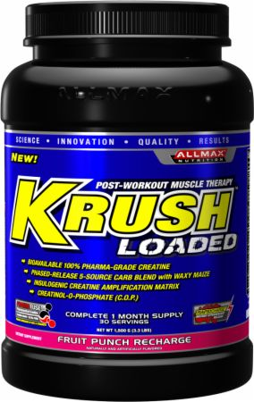 KRUSH Loaded Fruit Punch Recharge 30 Servings - Post-Workout Recovery AllMax Nutrition