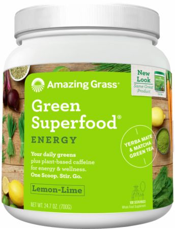 Image of Green Superfood Lemon-Lime 100 Servings - ENERGY - Greens Amazing Grass