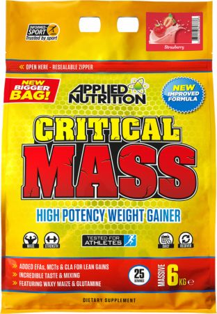 Image of Applied Nutrition Critical Mass 6 Kilograms Strawberry Milkshake