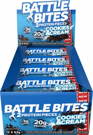 Image of Battle Oats Battle Bites 12 x 62g Bars Cookies & Cream