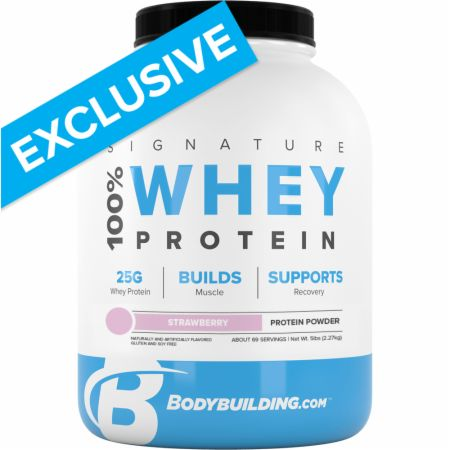 Image of Signature 100% Whey Protein Powder Strawberry 5 Lbs. - Protein Powder Bodybuilding.com Signature