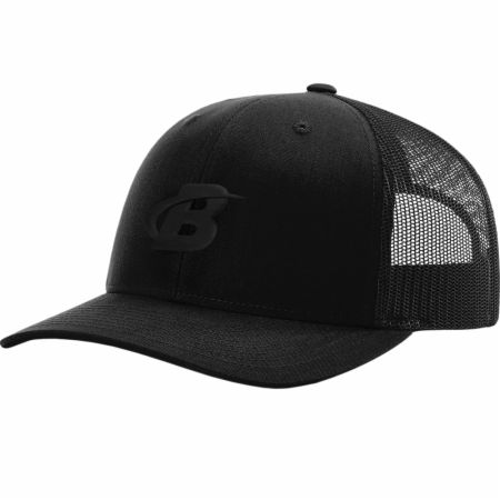 Image of Blackout Collection Embroidered Patch Trucker Hat Black Ink One Size - Hats Bodybuilding.com Clothing