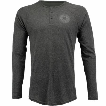 Blackout Collection Skull Badge Long Sleeve Henley