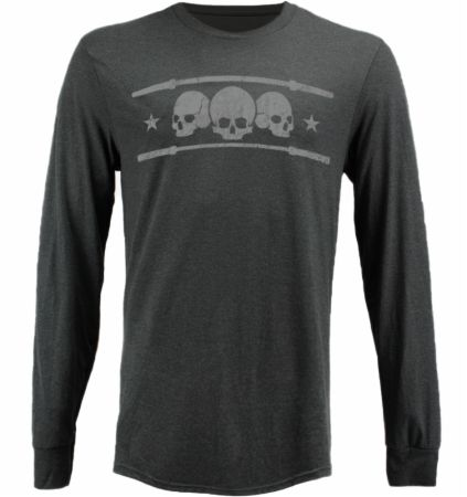 Blackout Collection Triple Skull Long Sleeve T-shirt