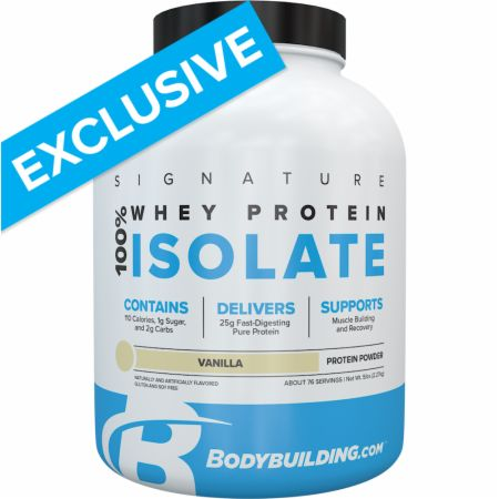 Image of Signature 100% Whey Isolate Vanilla 5 Lbs. - Protein Powder Bodybuilding.com Signature