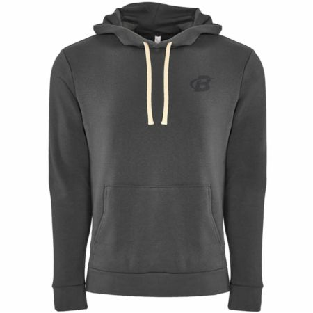 Image of B Logo Fleece Pullover Hoodie Heavy Metal Large - Men's Hoodies & Sweatshirts Bodybuilding.com Clothing