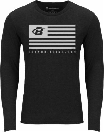 Image of B-Fit Flag Long Sleeve Tee Vintage Black Medium - Men's Long Sleeves Bodybuilding.com Clothing