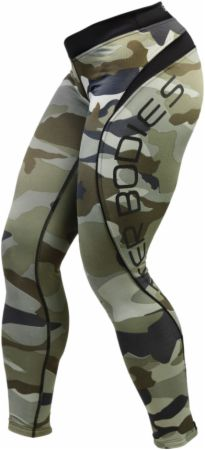 Image of Better Bodies Women's Camo Long Tights Small Green Camo Print