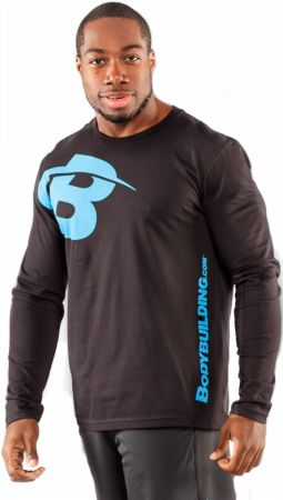 Image of Bodybuilding.com Clothing B Swoosh Long Sleeve Tee 2XL Black/Ocean