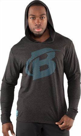 Image of Bodybuilding.com Clothing Diagonal Long Sleeve Hoodie Large Black/Ocean