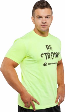 Image of Bodybuilding.com Clothing Be Strong Tee Large Neon Yellow