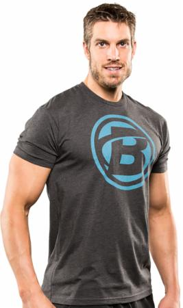 Image of Bodybuilding.com Clothing Super Hero Tee Large Charcoal/Turquoise