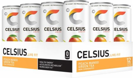 Image of CELSIUS Non-Carbonated Peach Mango Green Tea 12 - 12 Fl. Oz. Cans - Energy Drinks Celsius