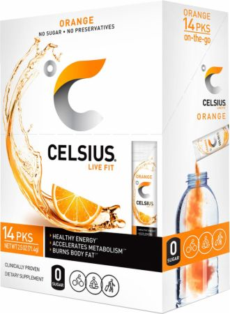 Image of CELSIUS Orange 14 Stick Packs - Energy Drinks Celsius