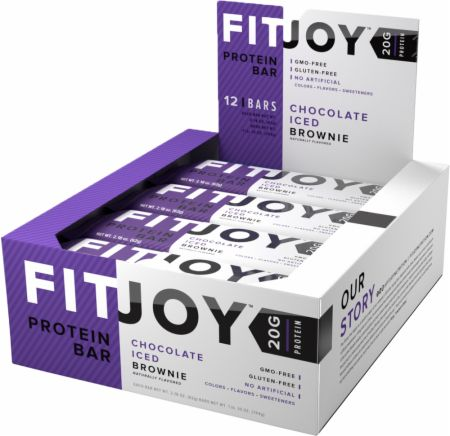 FitJoy FitJoy Bars Chocolate Iced Brownie 12 Bars - Protein Bars