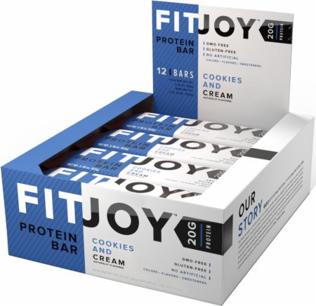 FitJoy FitJoy Bars Cookies and Cream 12 Bars - Protein Bars