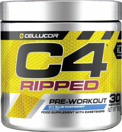 Image of C4 Ripped Pre Workout & Thermogenic Icy Blue Raspberry 30 Servings - Pre-Workout Supplements Cellucor