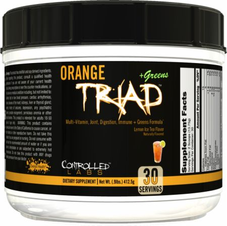 Image of Orange Triad + Greens Lemon Ice Tea 30 Servings - Performance Multivitamins Controlled Labs