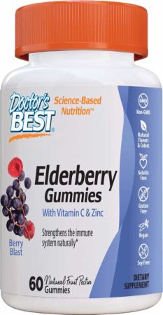 Image of Elderberry Gummies with Vitamin C & Zinc Berry Blast 60 Gummies - Immune System Support Doctor's Best