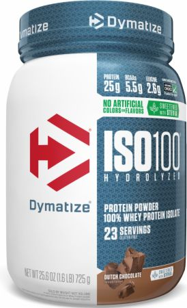 Image of ISO100® Hydrolyzed 100% Whey Protein Isolate Dutch Chocolate 1.6 Lbs. - Naturally Flavored - Protein Powder Dymatize