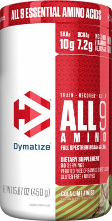 Image of All 9 Amino Full Spectrum BCAAs & EAAs Cola Lime Twist 450 Grams - Amino Acids & BCAAs Dymatize