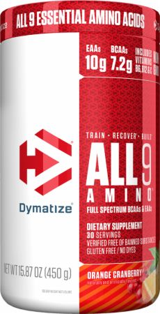 Image of All 9 Amino Full Spectrum BCAAs & EAAs Orange Cranberry 450 Grams - Amino Acids & BCAAs Dymatize