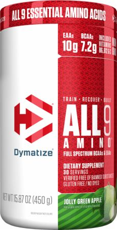 Image of All 9 Amino Full Spectrum BCAAs & EAAs Jolly Green Apple 450 Grams - Amino Acids & BCAAs Dymatize