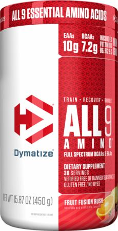 Image of All 9 Amino Full Spectrum BCAAs & EAAs Fruit Fusion Rush 450 Grams - Amino Acids & BCAAs Dymatize