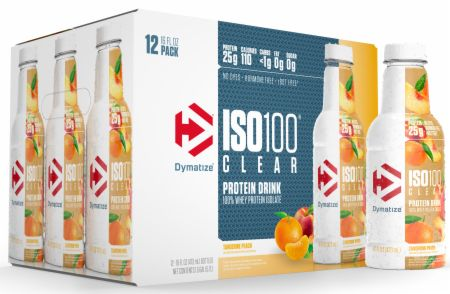Image of Iso100 Clear 100% Whey Protein Isolate Drink Tangerine Peach 12 - 16 oz. Bottles - Protein RTD Shakes Dymatize