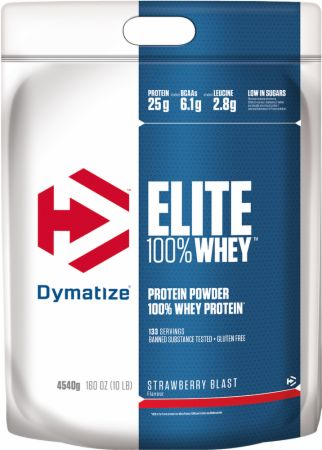 Image of Dymatize Elite 100% Whey Protein 4.54 Kilograms Strawberry Blast