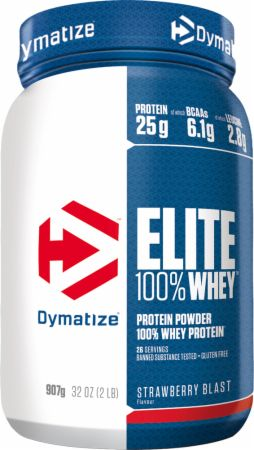 Image of Dymatize Elite 100% Whey Protein 907 Grams Strawberry Blast