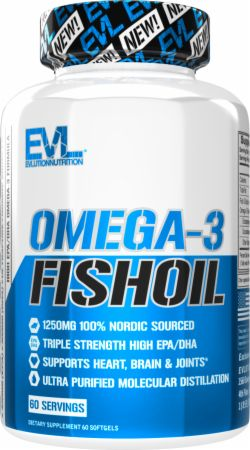 Evlution Nutrition Omega 3 Fish Oil 1250mg | HIGH EPA 450mg + DHA 300mg Triple Strength | Capsules