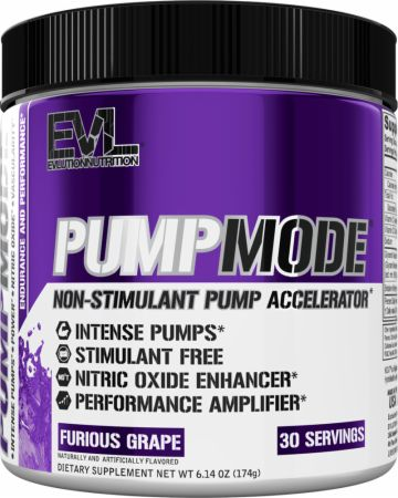 EVLUTION NUTRITION PumpMode Furious Grape 30 Servings - Stimulant Free Pre-Workout